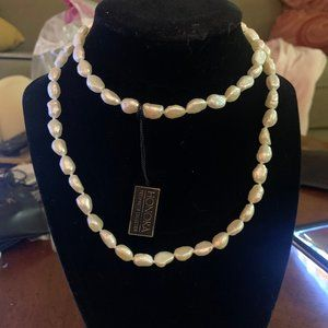 8-9 mm White Rice Pearl Strand Necklace, 30""